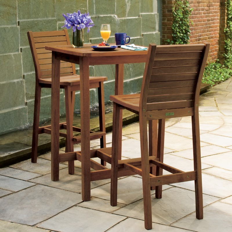 Dartmoor Wood Outdoor Patio Bar Set 3 Piece Brown OG DM3SETU OutdoorPatioFu