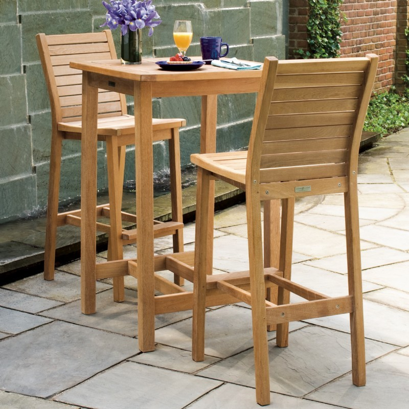 Shorea Wood Dartmoor Outdoor Bar Set 3 Piece Natural : Patio Sets