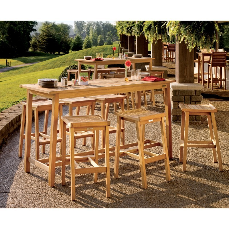 Shorea Wood Dartmoor Rectangle Outdoor Bar Table 79 inch Natural alternative photo #2