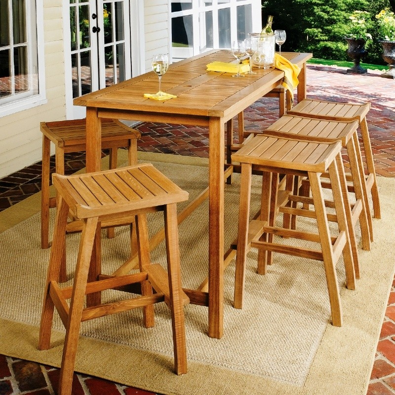 Shorea Wood Dartmoor Outdoor Bar Set 7 Piece Natural : Best Selling Furniture Sets