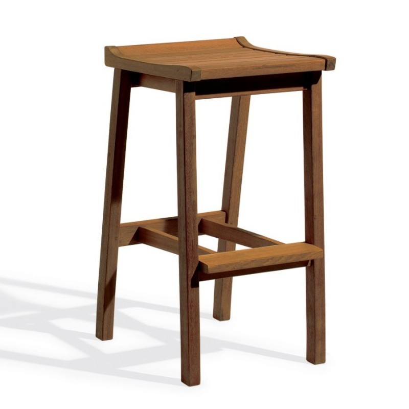 Shorea Wood Dartmoor Outdoor Bar Stool Brown Umber
