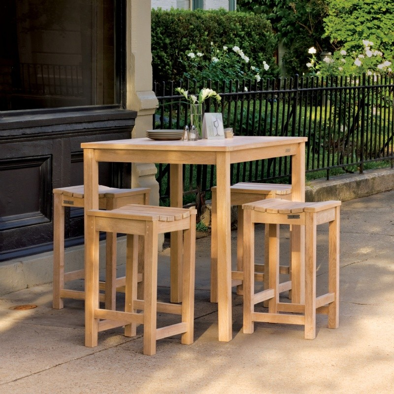 Shorea Wood Outdoor Counter Dining Set 5 Piece