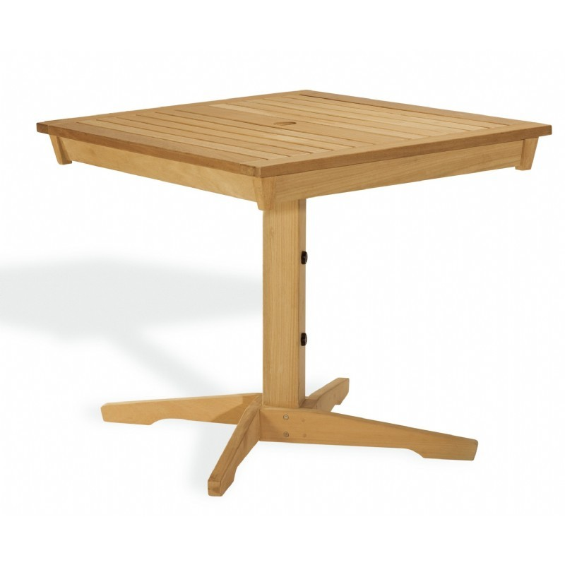 Shorea Wood Rectangle Pedestal Outdoor Dining Table 40 inch