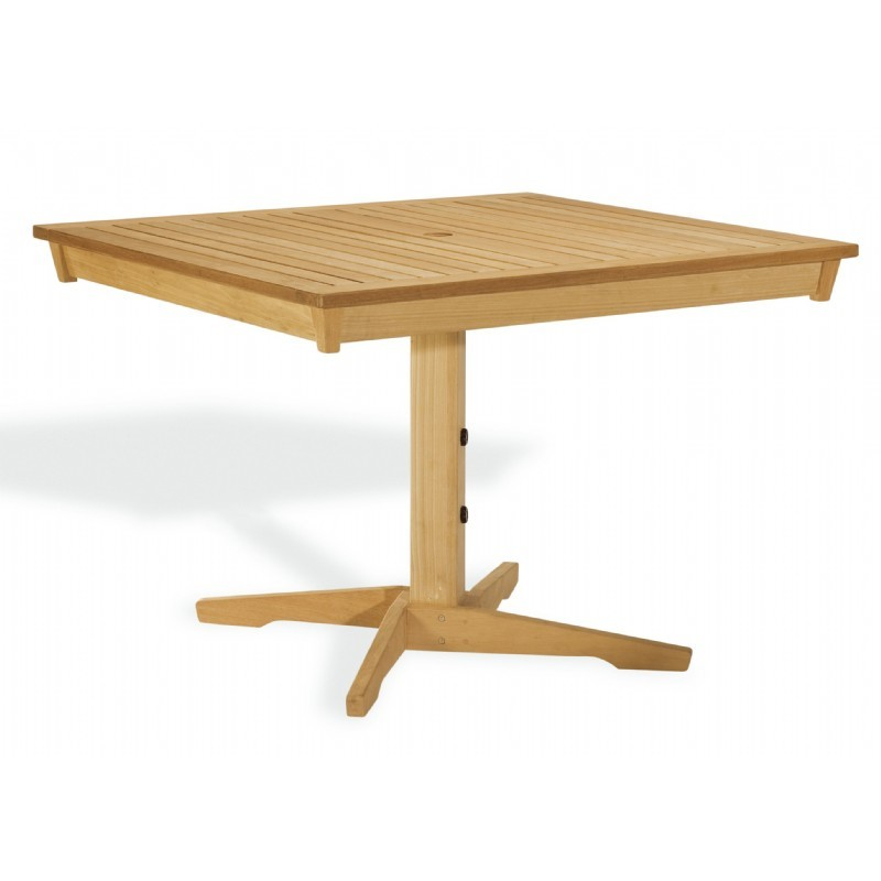Shorea Wood Rectangle Pedestal Outdoor Dining Table 45 inch