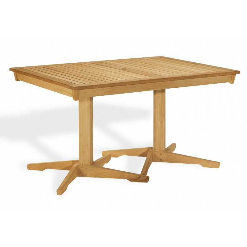 Shorea Wood Rectangle Pedestal Outdoor Dining Table 58 inch