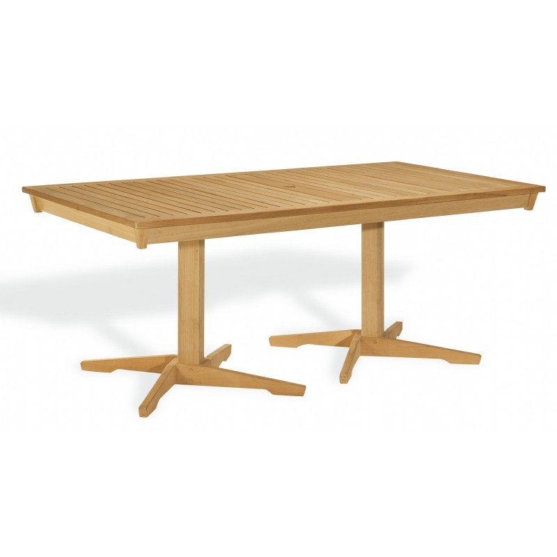 Shorea Wood Rectangle Pedestal Outdoor Dining Table 76 inch
