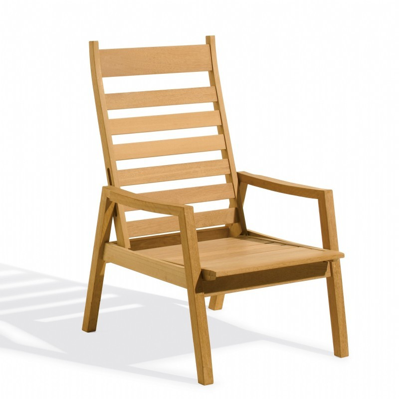Outdoor Furniture: Club Chairs: Shorea Wood Siena Outdoor Reclining Chair
