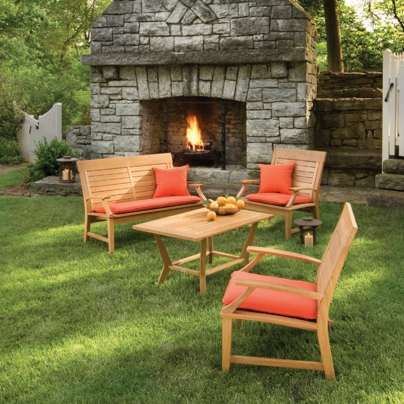 Outdoor Furniture: Outdoor Deep Seating Sets: Shorea Wood Sutton Outdoor Deep Seating Set 4 Piece