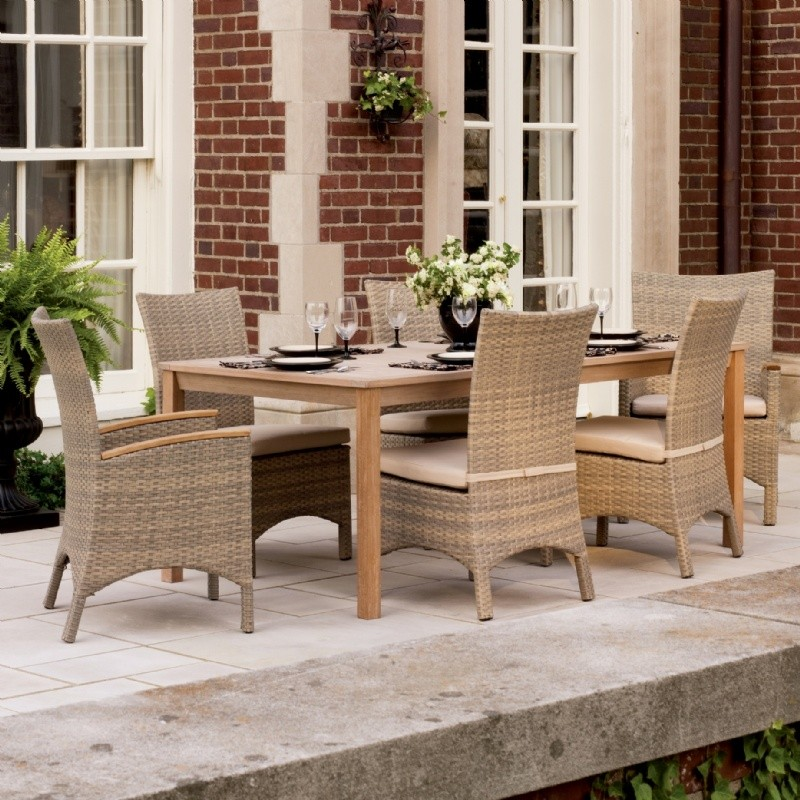 Torbay Outdoor Wicker Rectangle Patio Dining Set 7 Piece