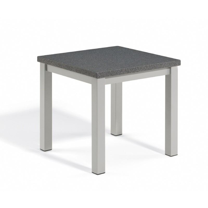 Travira Aluminum Alstone Graphite Top Square Side Table : Coffee Tables