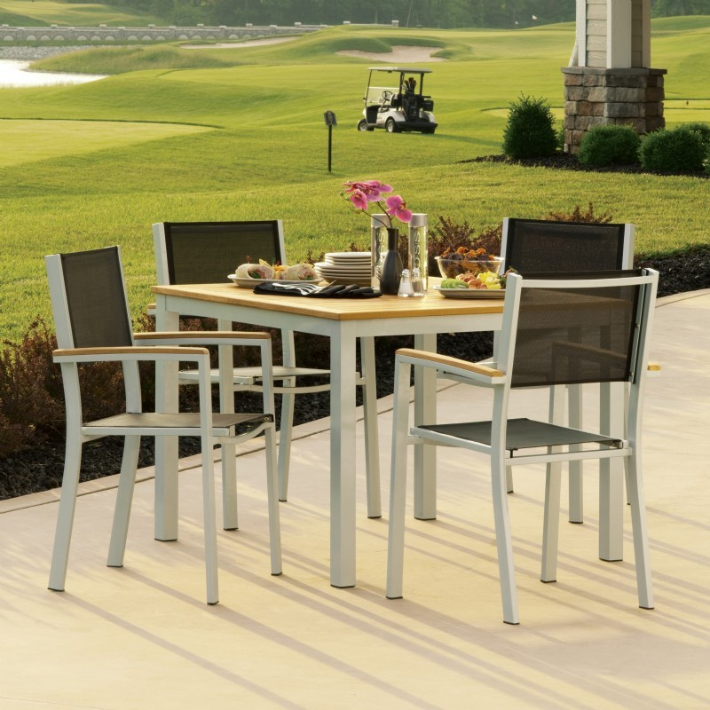 Travira aluminum outdoor dining set 5 piece black slings for Outdoor dining sets for 10