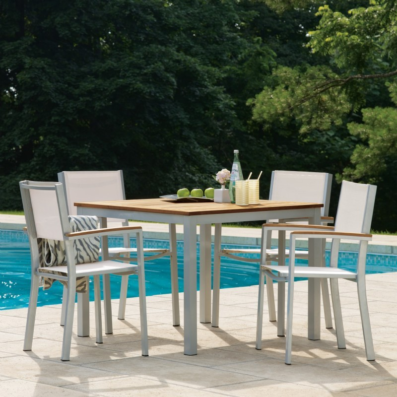 Travira Aluminum Outdoor Dining Set 5 piece Natural Slings : Sling Patio Furniture