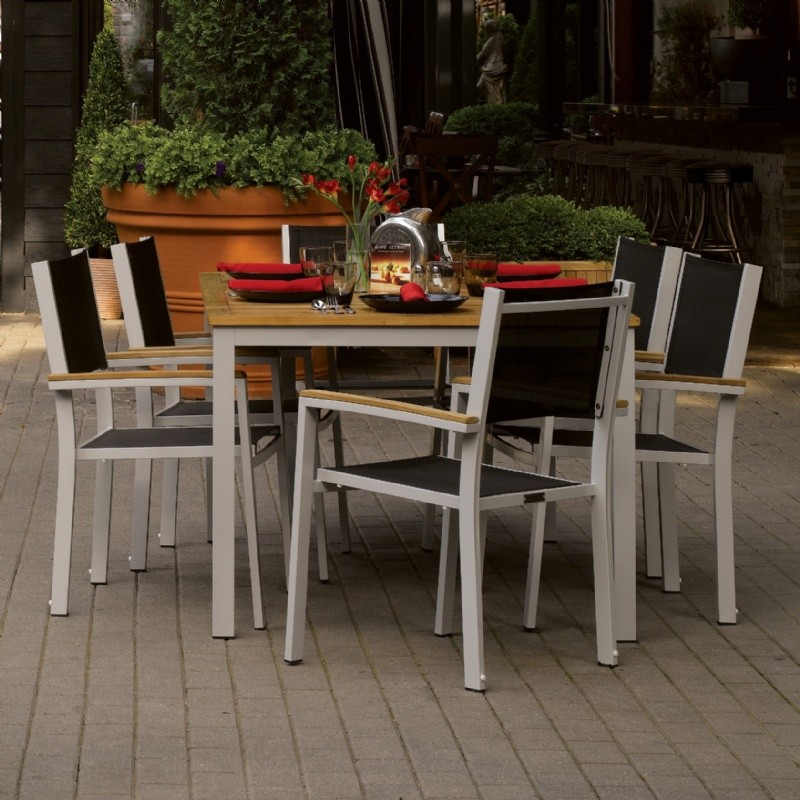 Travira Aluminum Outdoor Dining Set 7 piece Black Slings : Sling Patio Furniture