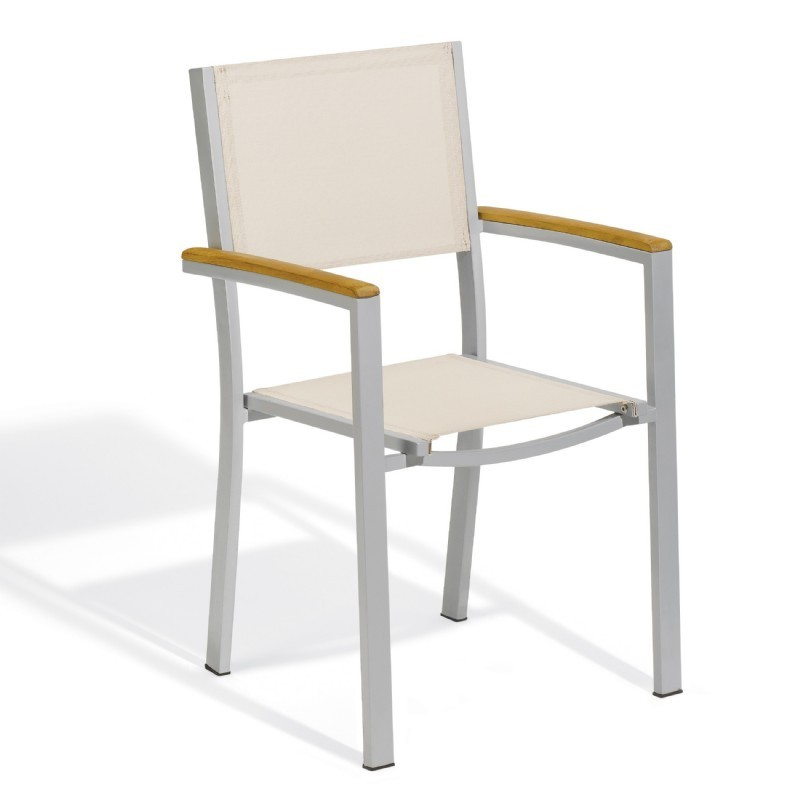 Travira Aluminum Sling Stackable Dining Chair Natural : Outdoor Chairs