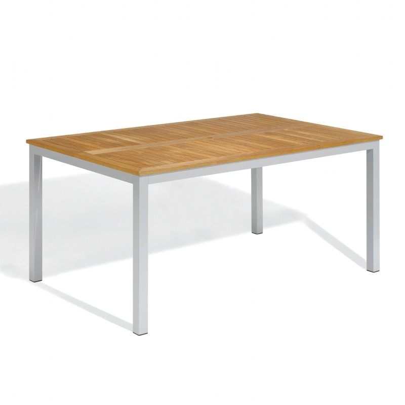 Travira Aluminum Teak-Top Rectangle Dining Table 63 Inch