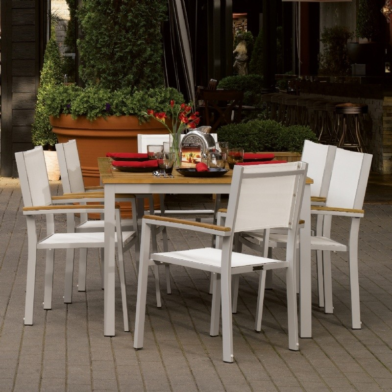 Travira Aluminum Outdoor Dining Set 7 piece Natural Slings : Sling Patio Furniture