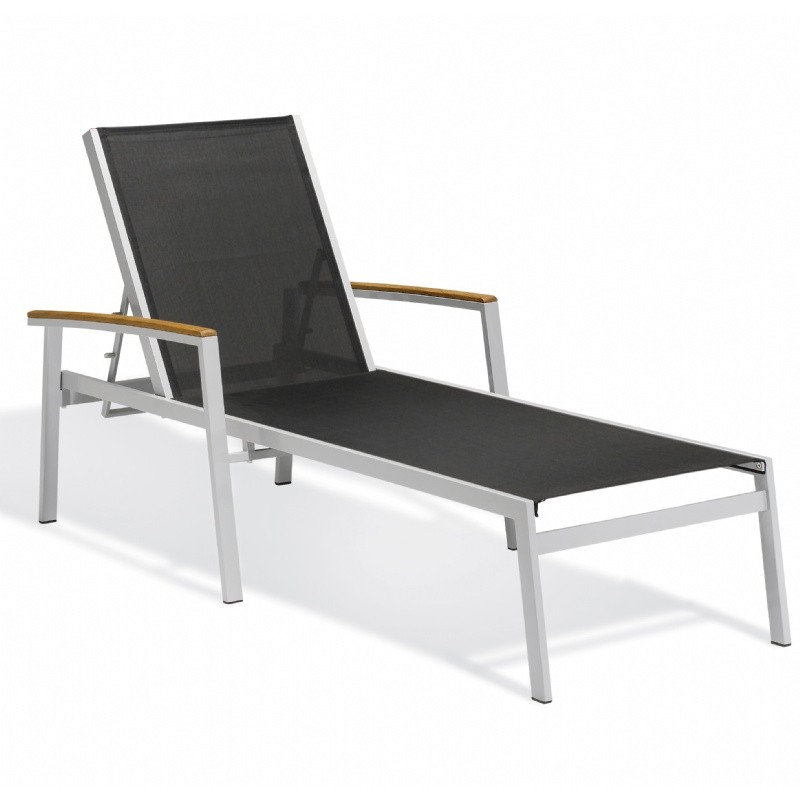 Travira Aluminum Sling Stackable Chaise Lounge Black : Beach Chaise Lounges