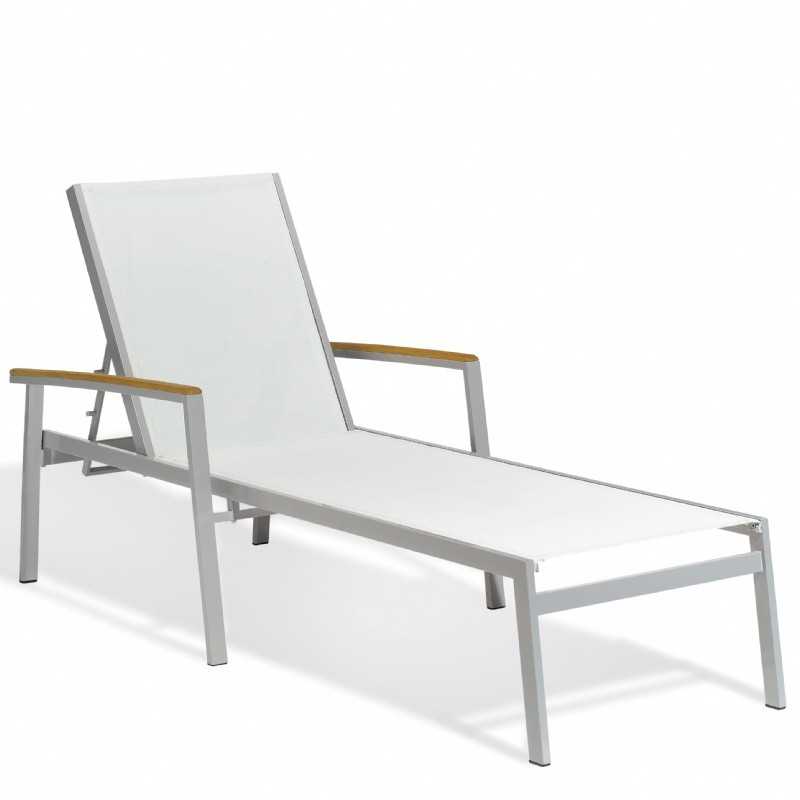 Outdoor Furniture: Beach Chaise Lounges: Travira Aluminum Sling Stackable Chaise Lounge Natural