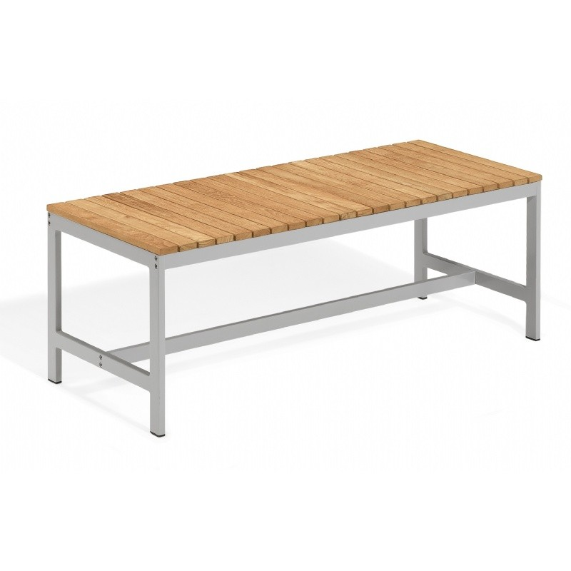 Travira Aluminum Teak Backless Outdoor Bench 4 Feet