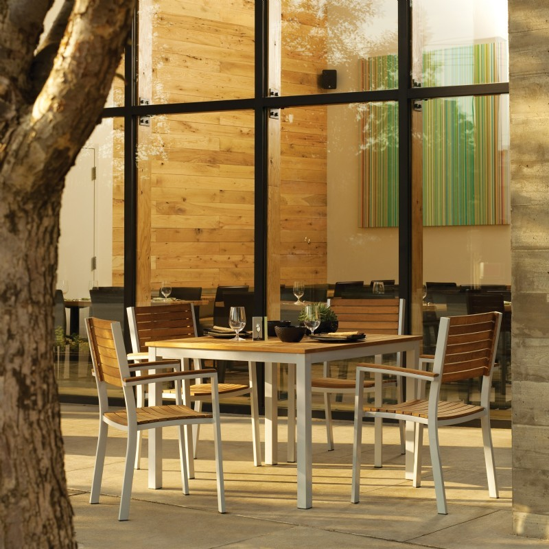 Travira Aluminum and Teak Outdoor Dining Set 5 piece