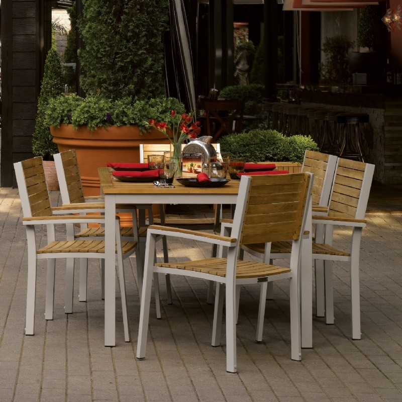 Travira Aluminum and Teak Outdoor Dining Set 7 piece : Pool Furniture Sets
