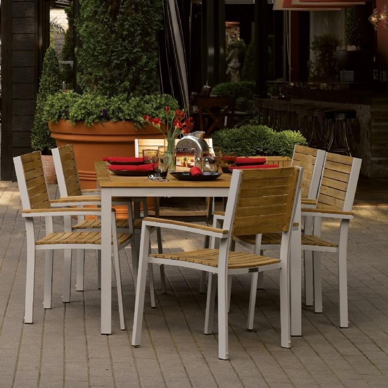 Travira Aluminum And Teak Outdoor Dining Set 7 Piece