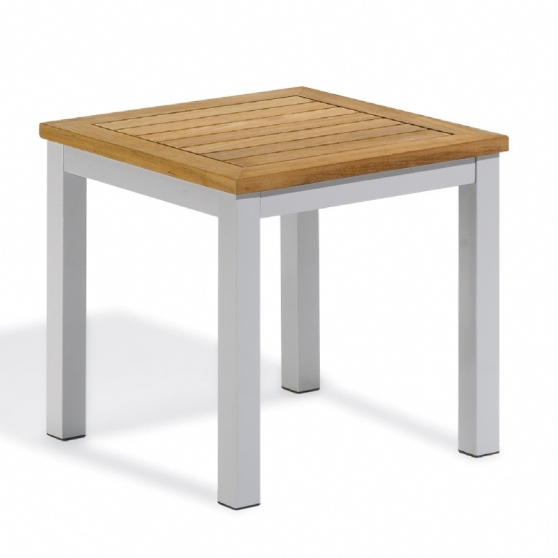 Travira Aluminum Teak-Top Square Side Table - OG-TVET