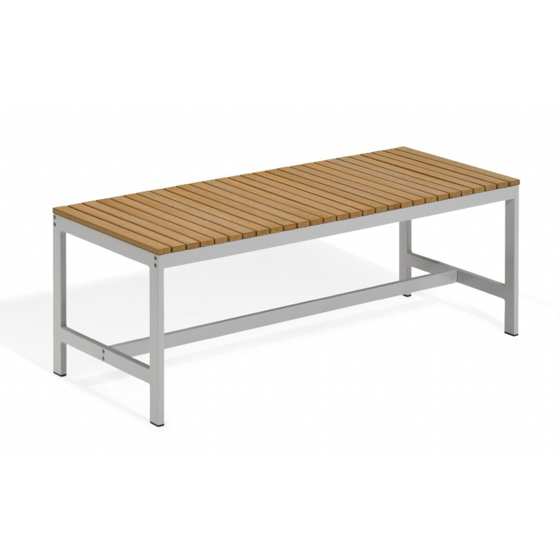 Travira Aluminum Tekwood Natural Backless Outdoor Bench 4 Feet