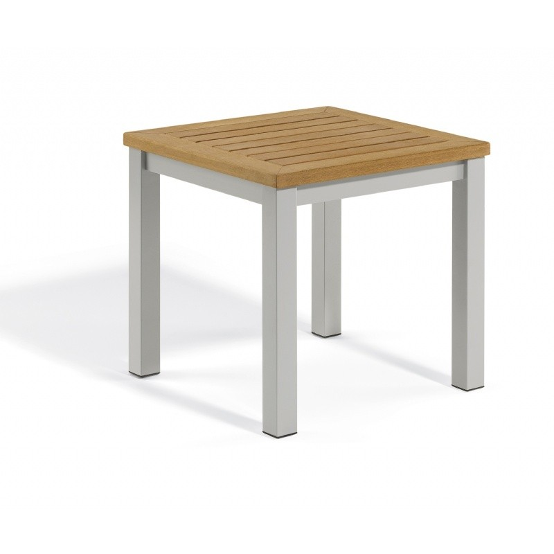 Travira Aluminum Tekwood Natural Top Square Side Table : Coffee Tables