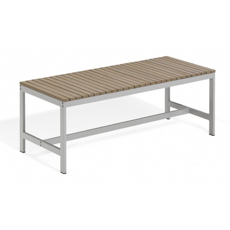 Travira Aluminum Tekwood Vintage Backless Outdoor Bench 4 Feet