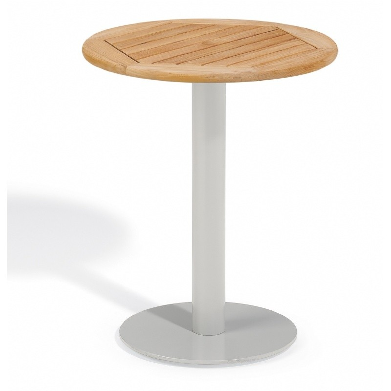 Travira Steel Teak-Top Outdoor Bistro Table 24 Inch