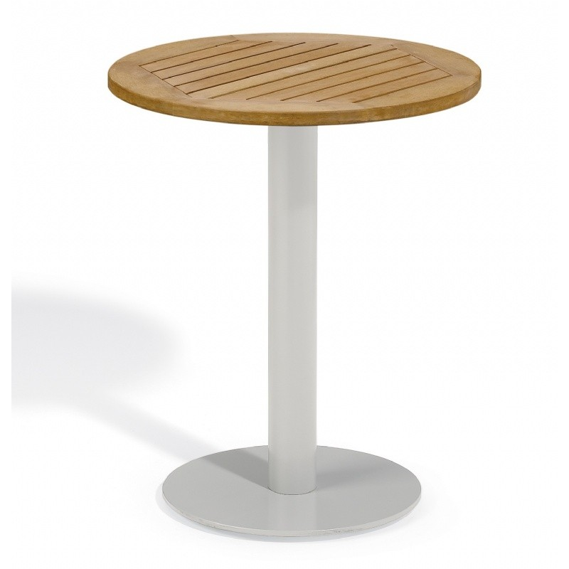 Travira Steel Tekwood Natural Top Outdoor Bistro Table 24 Inch