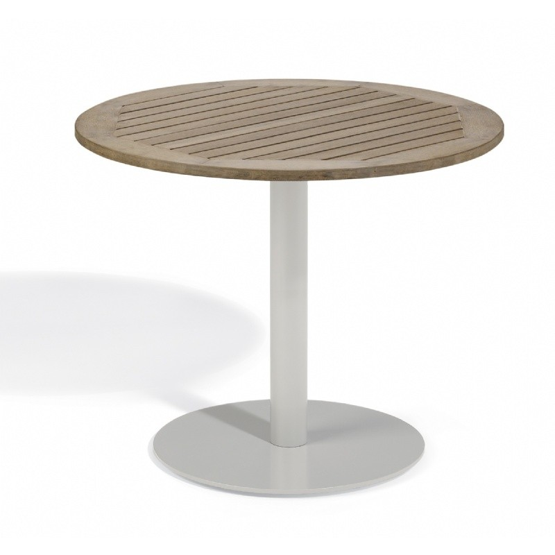 Travira Steel Tekwood Vintage Top Outdoor Bistro Table 36 Inch