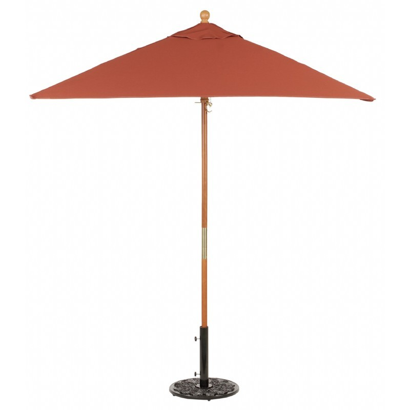 Wood Pole Square Market Umbrella 6 Feet Shade