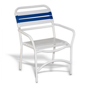Strap Patio Stackable Dining Arm Chair White SFU-553-201