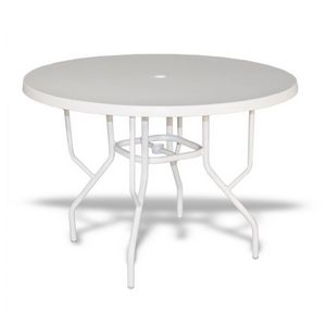 "Strap Round Patio Dining Table with Fiberglass Top White 42"" SFU-542FUBB"