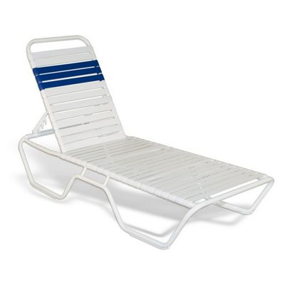 Strap Patio Stackable Chaise Lounge 78x27x12 White SFU-5200-201