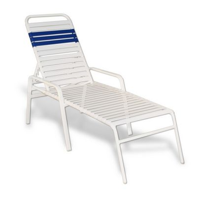 Strap Patio Stackable Chaise Lounge With Arms 80x27x16 White Flat Tube