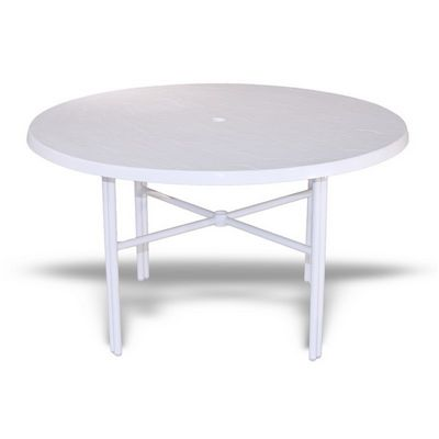 "Strap Round Patio Dining Table with Fiberglass Top White 48"" SFU-548FUSQ"