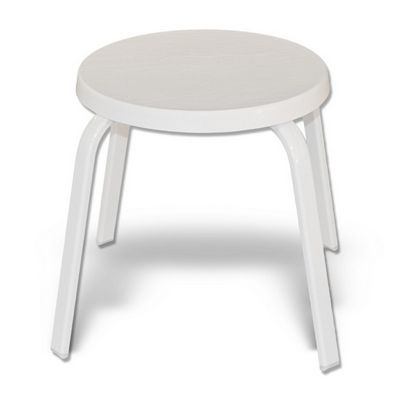 Strap Round Patio Side Table with Fiberglass Top Flat Tube White SFU-318F