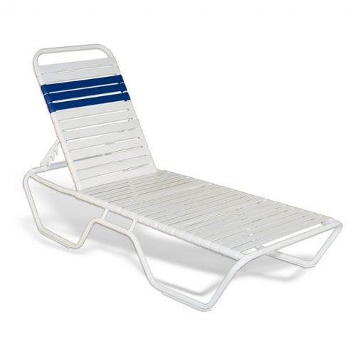 Strap Patio Stackable Chaise Lounge 78x27x12 White SFU-5200-201-201