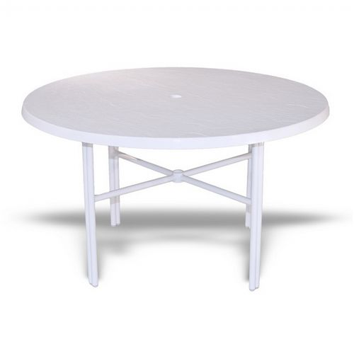 Strap Round Patio Dining Table With Fiberglass Top White