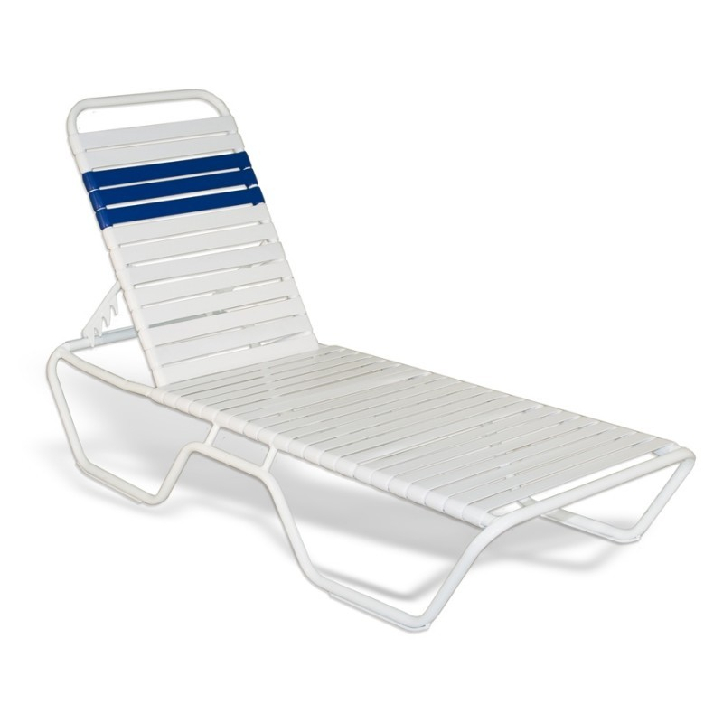 Stackable Aluminum Strap Chaise Lounge 78x27x12 White