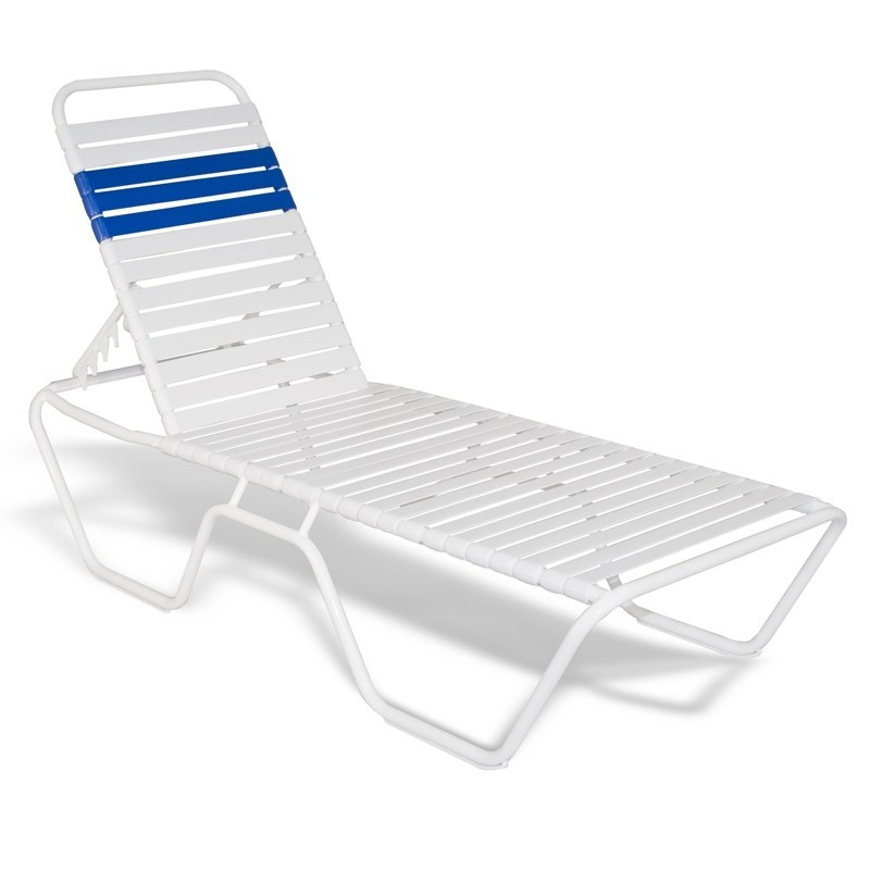 Stackable Aluminum Strap Chaise Lounge 78x27x14 White