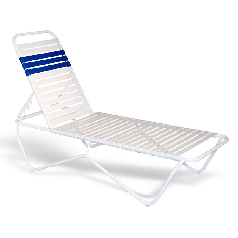 Outdoor Pool Stackable Strap Chaise Lounge 80x27x14 White