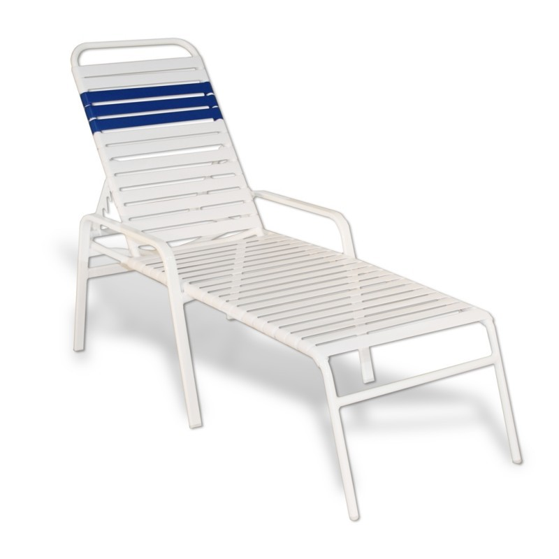 Strap Patio Stackable Chaise Lounge with Arms 80x27x16 White Flat Tube : Beach Chaise Lounges