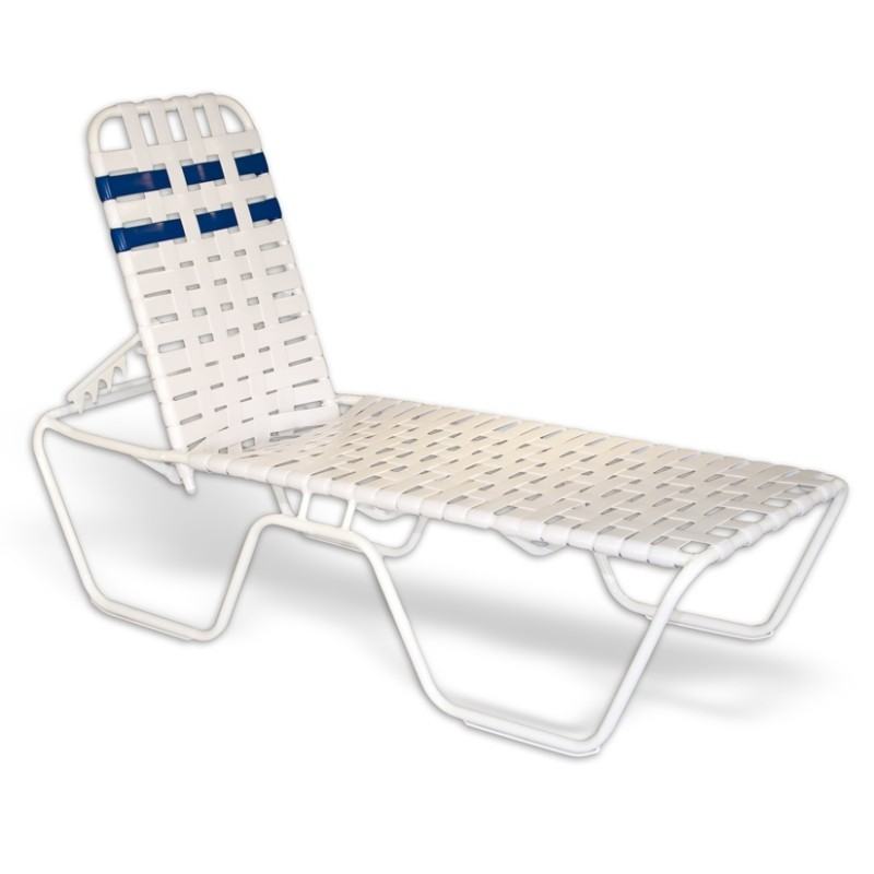 Commercial Strap Chaise Lounge Cross Weave 78x27x16 White