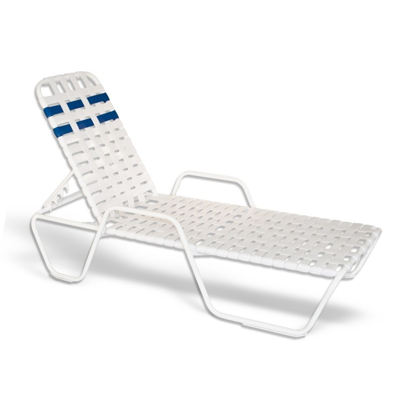 Commercial Strap Chaise Lounge with Arms Cross Weave 79x27x12 White