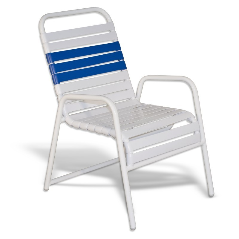 Strap Patio Stackable Dining Arm Chair White : Outdoor Chairs