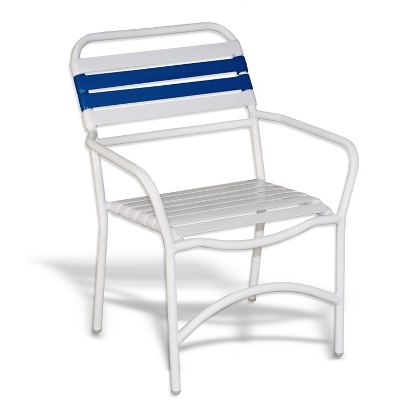 Strap Patio Stackable Dining Arm Chair White : Dining Chairs